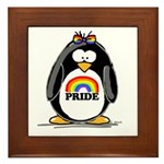 Gay Pride Girl Penguin Framed Tile