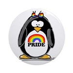 Gay Pride Girl Penguin Ornament (Round)
