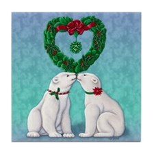 Polar Bear Kiss Tile Coaster