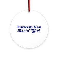 Turkish Van Cat Loving Girl Ornament (Round)