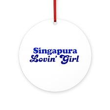 Singapura Cat Loving Girl Ornament (Round)