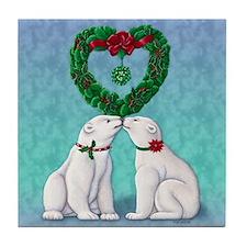 Polar Bear Kiss Tile Coaster