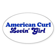 American Curl Cat Loving Girl Oval Decal