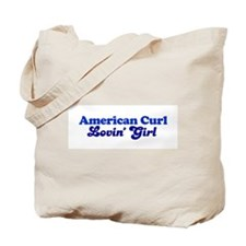 American Curl Cat Loving Girl Tote Bag