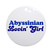 Abyssinian Cat Loving Girl Ornament (Round)