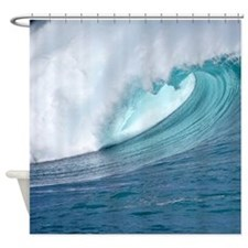 Waimea Bay Hawaii Big Surf Tropical Shower Curtain