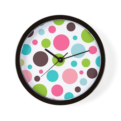 White & Pink Polkaz Wall Clock