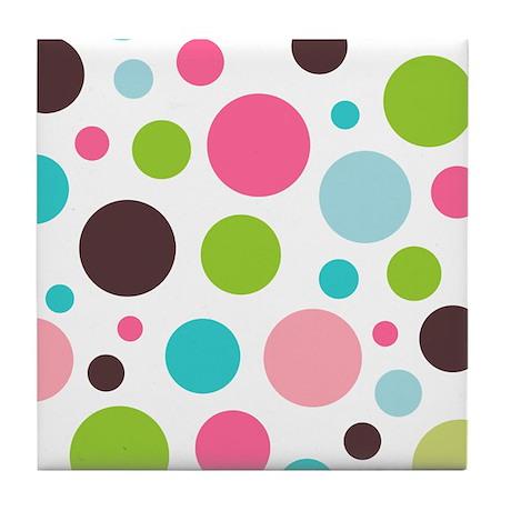 White & Pink Polkaz Tile Coaster