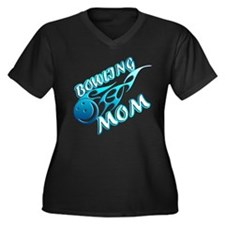 Bowling Mom (flame) Women's Plus Size V-Neck Dark