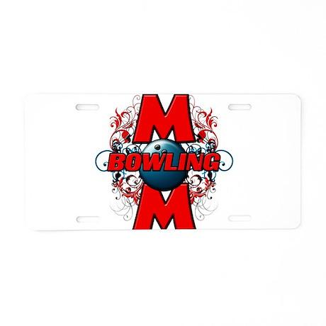 Bowling Mom (cross) Aluminum License Plate