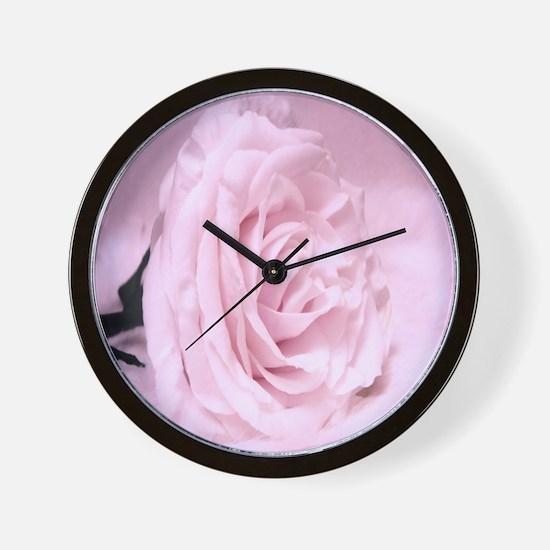 Soft Pink Rose Wall Clock