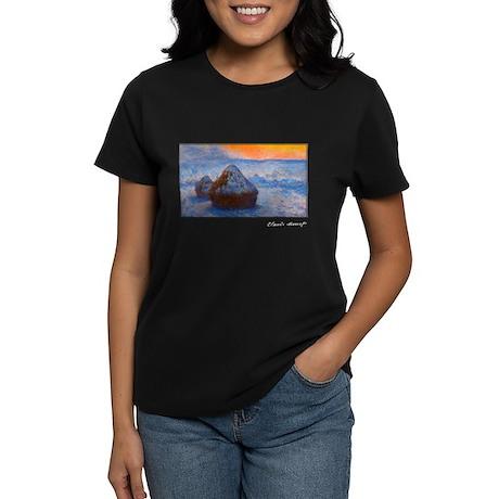 Grainstacks at Sunset, Snow Effect, Monet, Women's