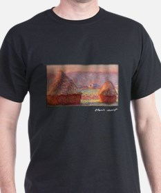 Haystacks - White Frost, Sunrise, Monet, T-Shirt