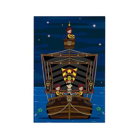 Knights & Princess on Ship Magnet