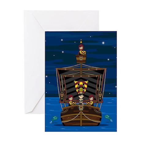 Knights & Princess on Ship Greeting Card