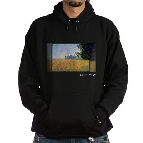 Monet Painting, Oat and Poppy Field, Hoodie (dark)