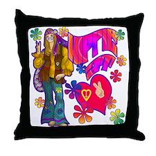 Hippie at Heart 60's Retro Throw Pillow