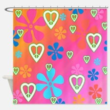 Retro Peace and Love Shower Curtain