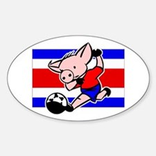 Costa Rica Soccer Pigs Oval Decal