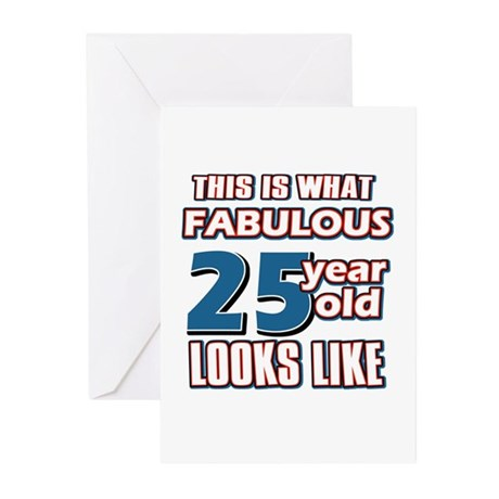 Cool 25 year old birthday designs Greeting Cards (