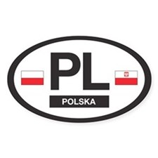 PL Car Decal - Polska (Poland) - Oval Decal