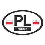 PL Car Decal - Polska (Poland) - Oval Sticker