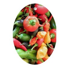 Chili Pepper Collage Ornament (Oval)