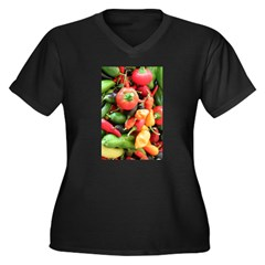 Chili Pepper Collage Women's Plus Size V-Neck Dark