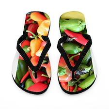 Chili Pepper Collage Flip Flops