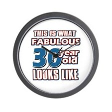 Cool 30 year old birthday designs Wall Clock