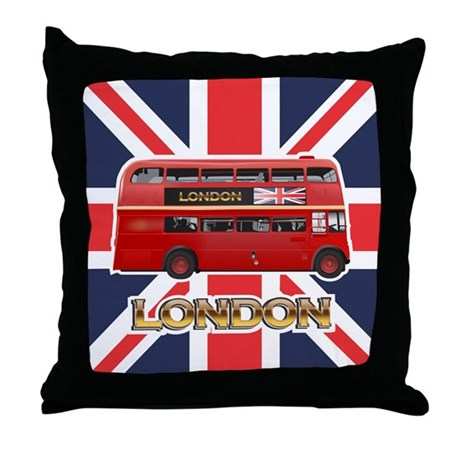 Red Bus Throw Pillow