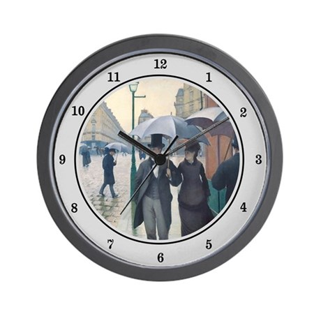 Rainy Day in Paris, Caillebotte Wall Clock