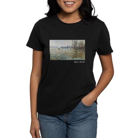 Monet, Breakup of Ice, 1880, Women's Dark T-Shirt