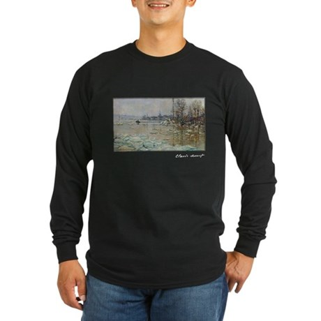 Monet, Breakup of Ice, 1880, Long Sleeve Dark T-Sh