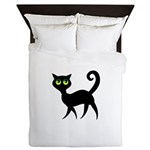 Cat With Green Eyes Queen Duvet