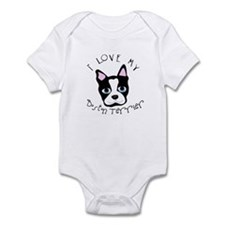"""I Love My Boston Terrier"" White Infant Creeper"