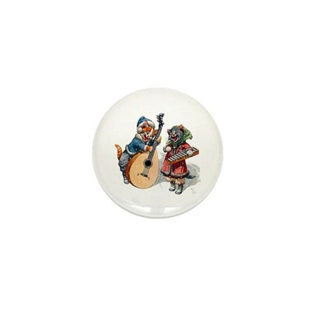 Cats Play Music in the Snow Mini Button (10 pack)