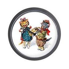 Cats Play Music in the Snow Wall Clock