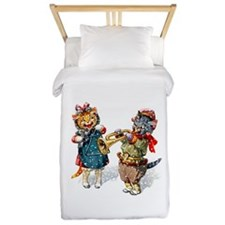 Cats Play Music in the Snow Twin Duvet