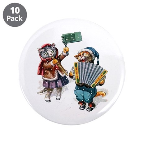 "Cats Play Music in the Snow 3.5"" Button (10 pack)"