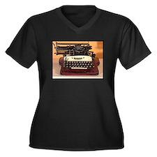 Cute Vintage typewriter Women's Plus Size V-Neck Dark T-Shirt
