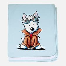 Steampunk Westie baby blanket