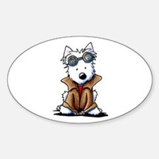 Steampunk Westie Sticker (Oval 10 pk)