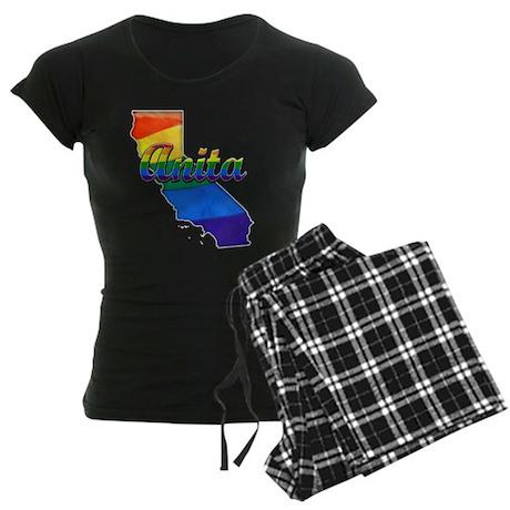 Anita, California. Gay Pride Women's Dark Pajamas