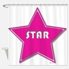 Pink Outlined Star Shower Curtain