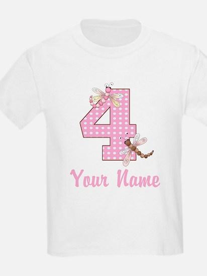4th Birthday Dragonfly T-Shirt
