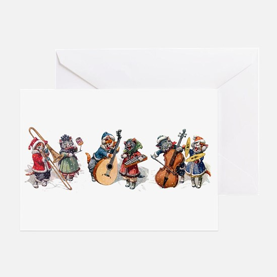 Jazz Cats In the Snow Greeting Card