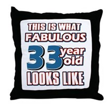 Cool 33 year old birthday designs Throw Pillow