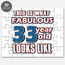 Cool 33 year old birthday designs Puzzle