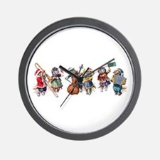 Jazz Cats In the Snow Wall Clock